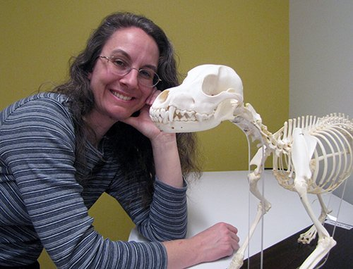Wendy Chadbourne with a canine skeleton